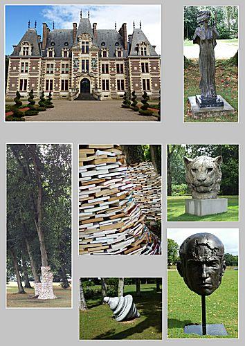 Chateau met beelden in de tuin