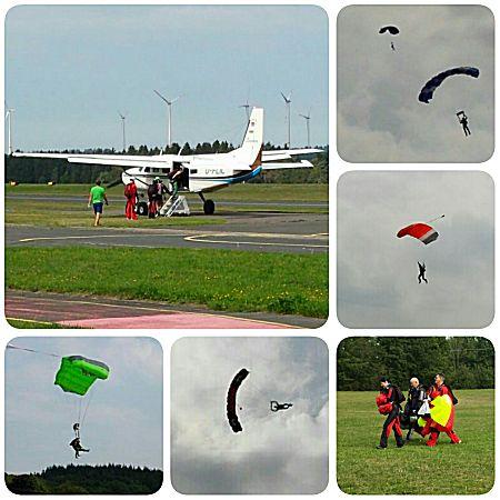 Parachute springen bij het vliegveld