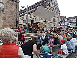 Het podium waar de musical gespeeld wordt